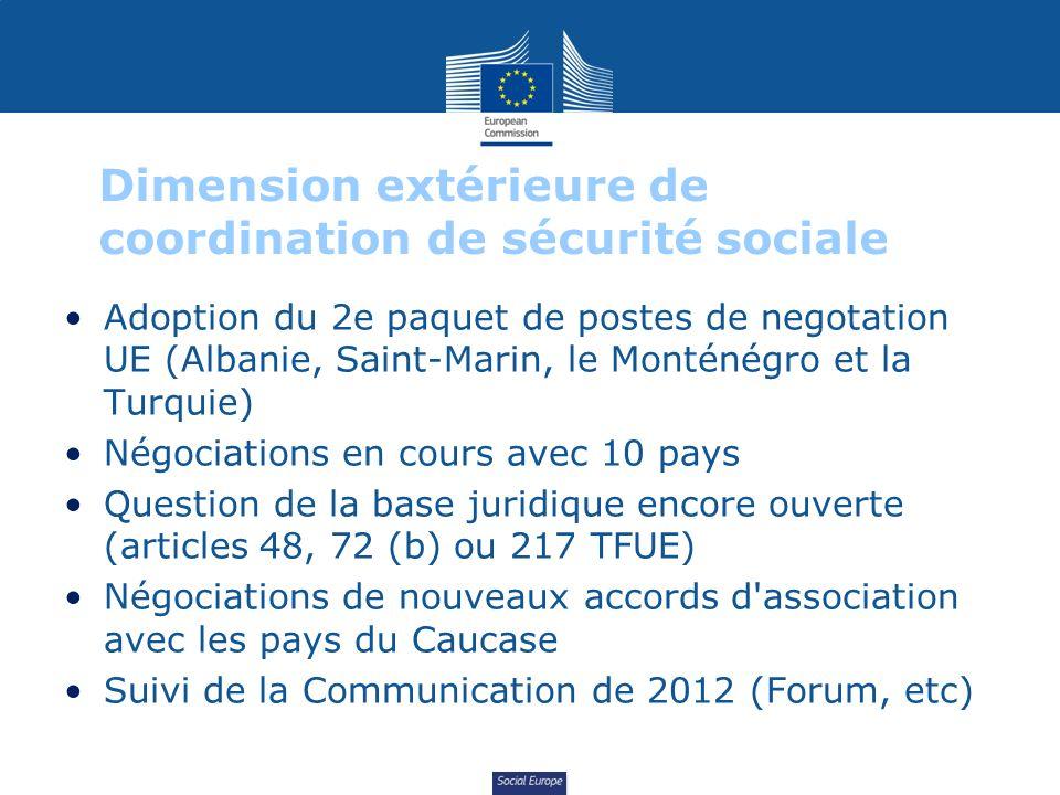 Social Europe Dimension extérieure de coordination de sécurité sociale Adoption du 2e paquet de postes de negotation UE (Albanie, Saint-Marin, le Mont