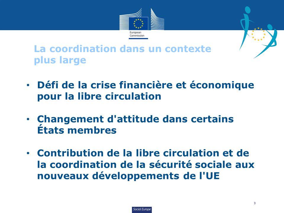 Social Europe 3 La coordination dans un contexte plus large Défi de la crise financière et économique pour la libre circulation Changement d'attitude