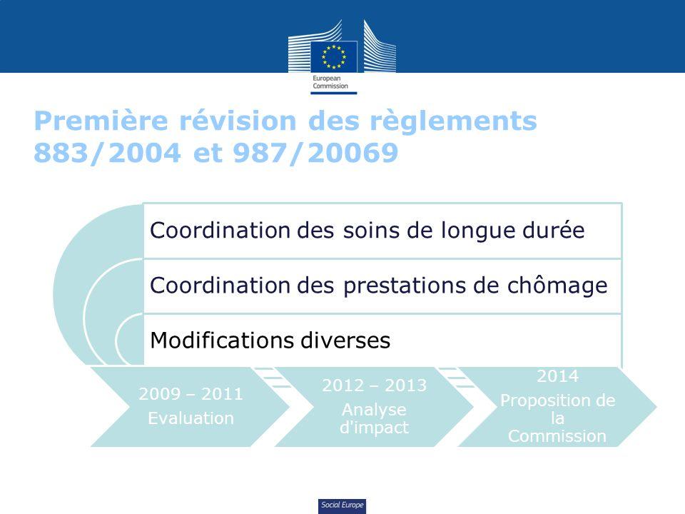 Social Europe Première révision des règlements 883/2004 et 987/20069 Coordination des soins de longue durée Coordination des prestations de chômage Modifications diverses 2009 – 2011 Evaluation 2012 – 2013 Analyse d impact 2014 Proposition de la Commission
