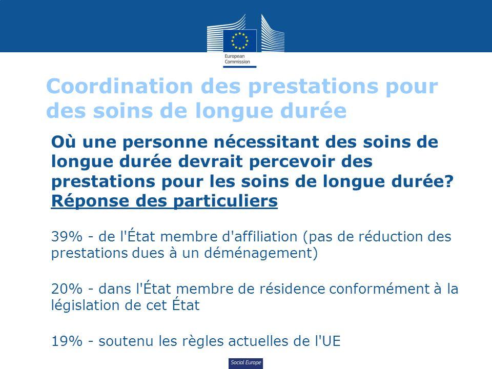 Social Europe Coordination des prestations pour des soins de longue durée Où une personne nécessitant des soins de longue durée devrait percevoir des prestations pour les soins de longue durée.