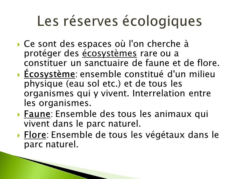 Ce sont des espaces où l'on cherche à protéger des écosystèmes rare ou a constituer un sanctuaire de faune et de flore. Écosystème: ensemble constitué