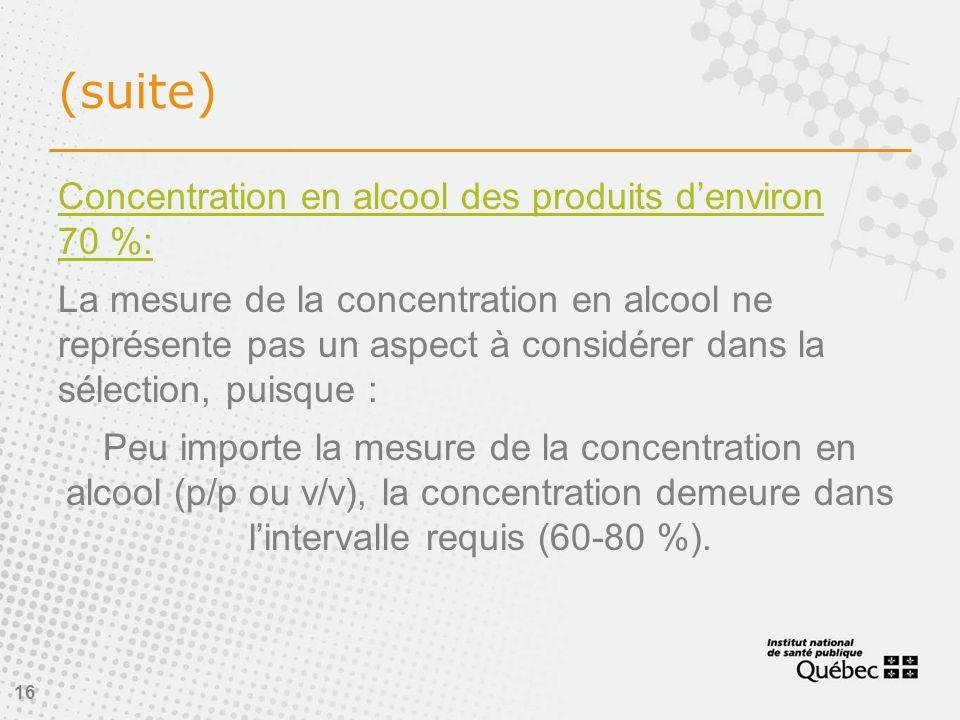 16 (suite) Concentration en alcool des produits denviron 70 %: La mesure de la concentration en alcool ne représente pas un aspect à considérer dans la sélection, puisque : Peu importe la mesure de la concentration en alcool (p/p ou v/v), la concentration demeure dans lintervalle requis (60-80 %).