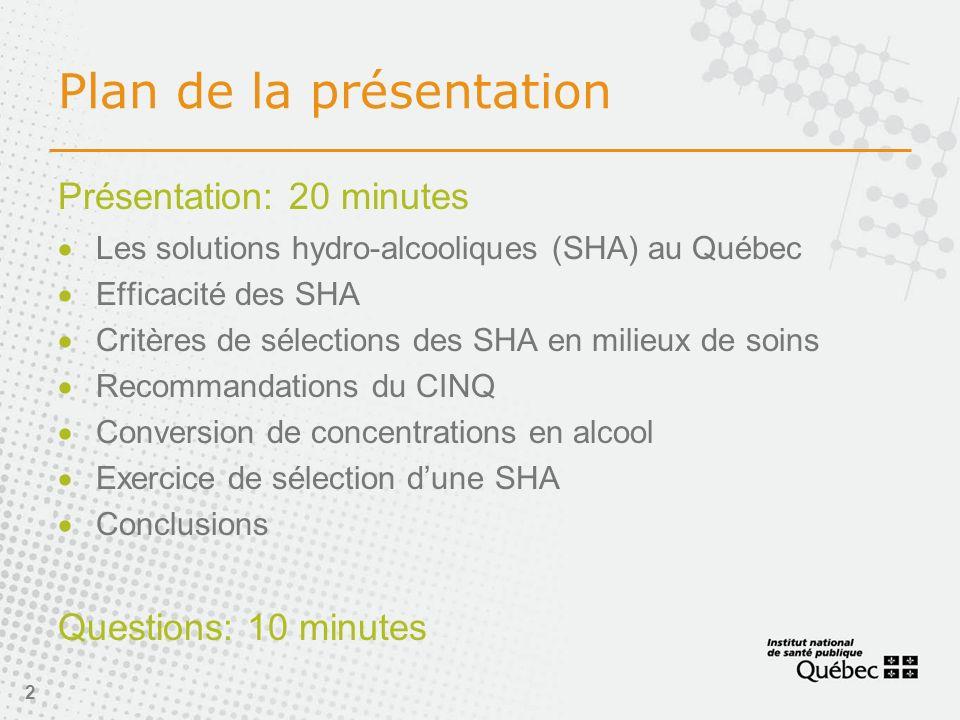 2 Plan de la présentation Présentation: 20 minutes Les solutions hydro-alcooliques (SHA) au Québec Efficacité des SHA Critères de sélections des SHA en milieux de soins Recommandations du CINQ Conversion de concentrations en alcool Exercice de sélection dune SHA Conclusions Questions: 10 minutes