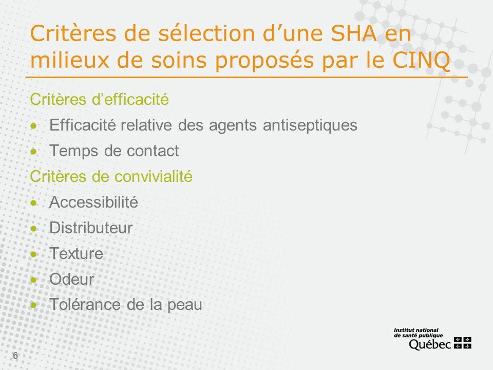 6 Critères de sélection dune SHA en milieux de soins proposés par le CINQ Critères defficacité Efficacité relative des agents antiseptiques Temps de contact Critères de convivialité Accessibilité Distributeur Texture Odeur Tolérance de la peau