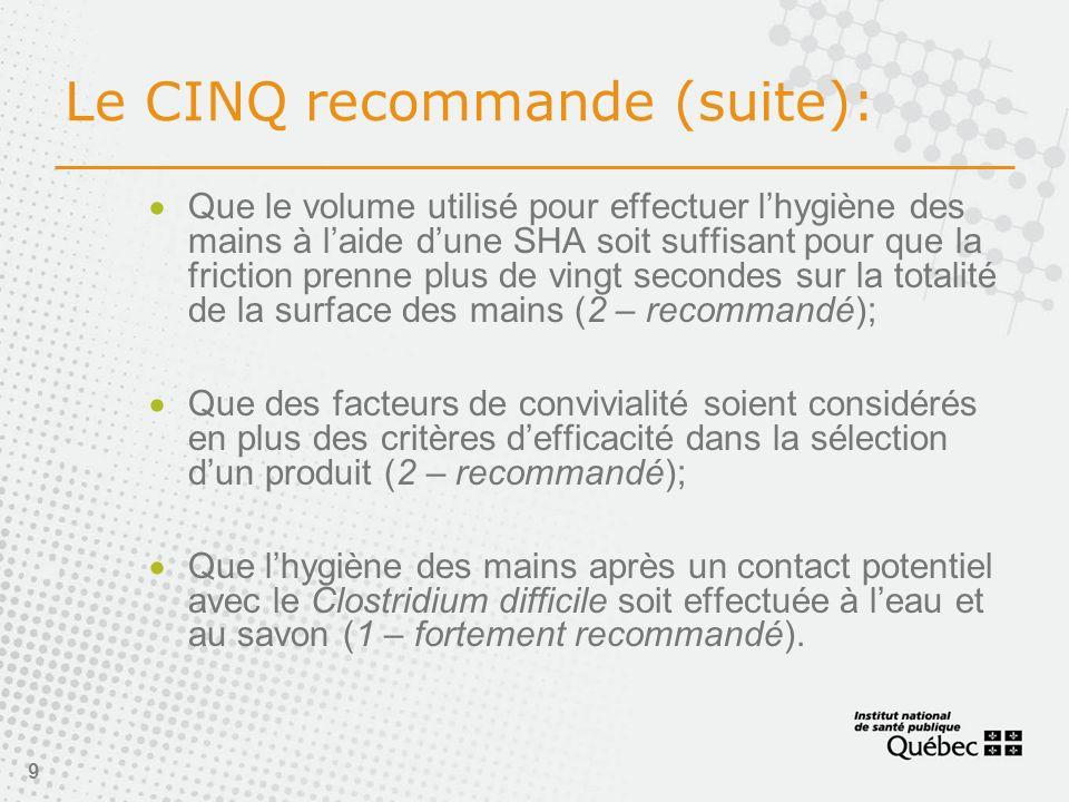 9 Le CINQ recommande (suite): Que le volume utilisé pour effectuer lhygiène des mains à laide dune SHA soit suffisant pour que la friction prenne plus de vingt secondes sur la totalité de la surface des mains (2 – recommandé); Que des facteurs de convivialité soient considérés en plus des critères defficacité dans la sélection dun produit (2 – recommandé); Que lhygiène des mains après un contact potentiel avec le Clostridium difficile soit effectuée à leau et au savon (1 – fortement recommandé).