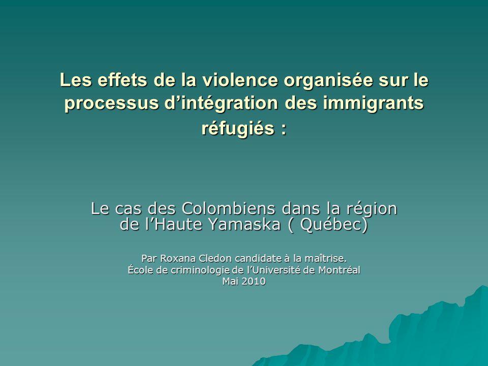 Les effets de la violence organisée sur le processus dintégration des immigrants réfugiés : Le cas des Colombiens dans la région de lHaute Yamaska ( Québec) Par Roxana Cledon candidate à la maîtrise.