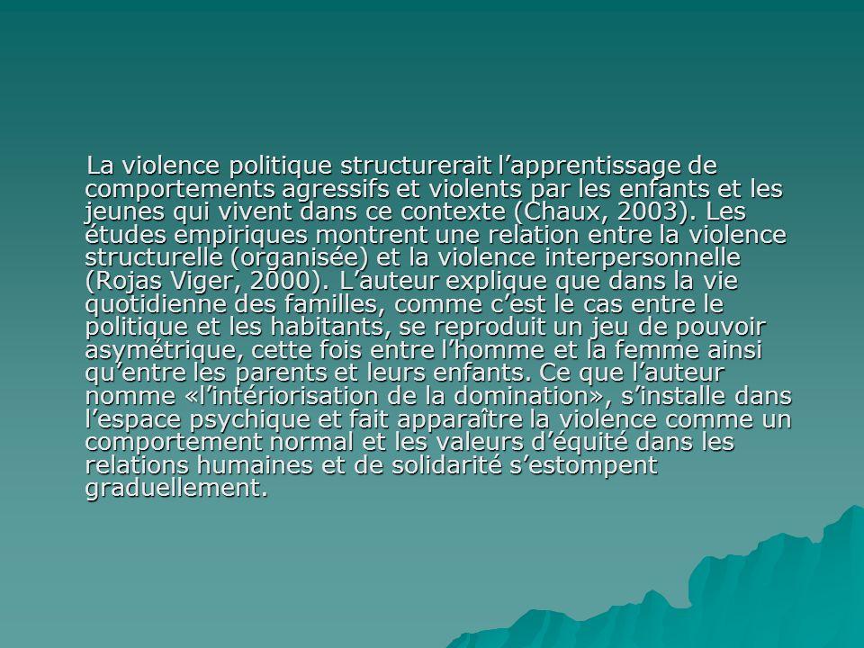 La violence politique structurerait lapprentissage de comportements agressifs et violents par les enfants et les jeunes qui vivent dans ce contexte (Chaux, 2003).