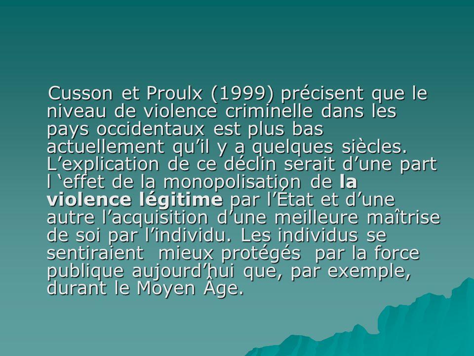 Cusson et Proulx (1999) précisent que le niveau de violence criminelle dans les pays occidentaux est plus bas actuellement quil y a quelques siècles.
