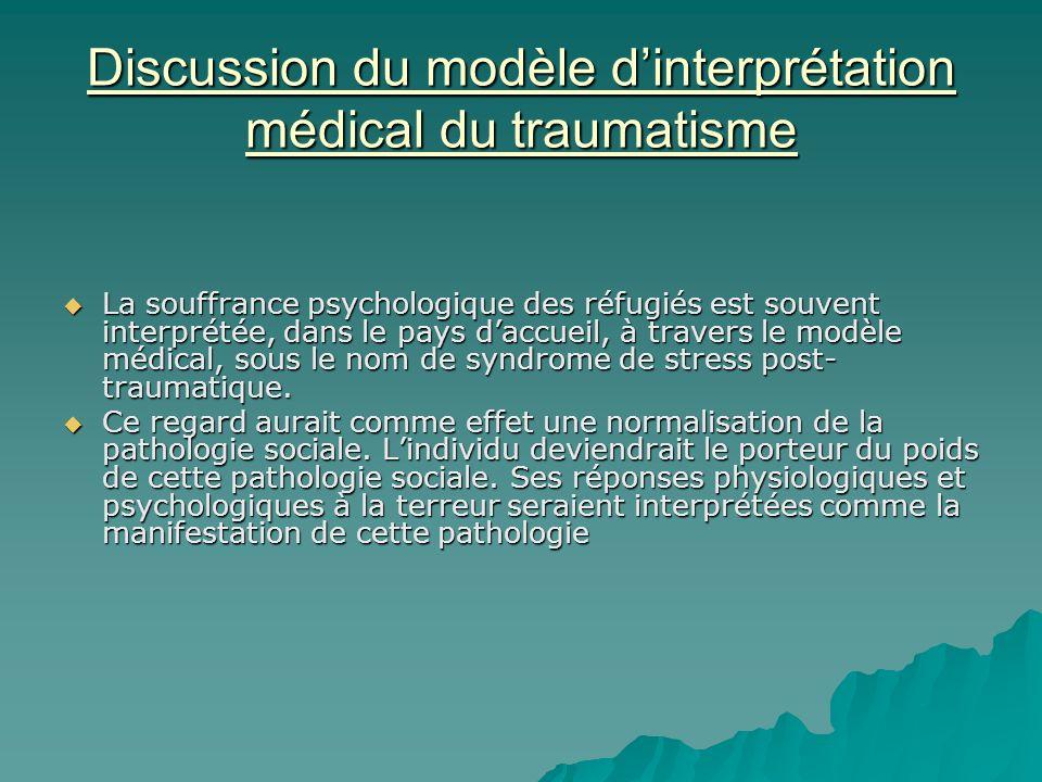 Discussion du modèle dinterprétation médical du traumatisme La souffrance psychologique des réfugiés est souvent interprétée, dans le pays daccueil, à travers le modèle médical, sous le nom de syndrome de stress post- traumatique.