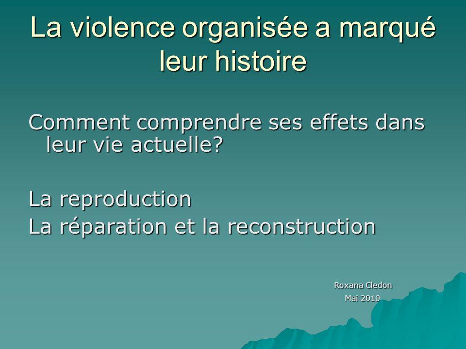 La violence organisée a marqué leur histoire Comment comprendre ses effets dans leur vie actuelle.