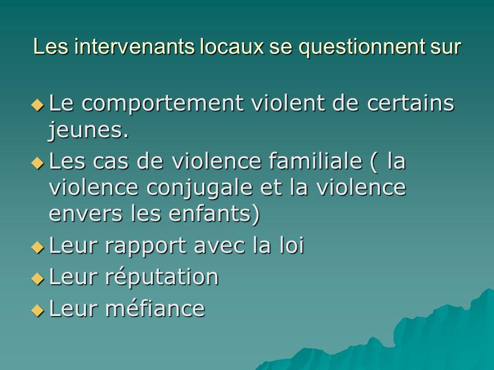 Les intervenants locaux se questionnent sur Le comportement violent de certains jeunes.
