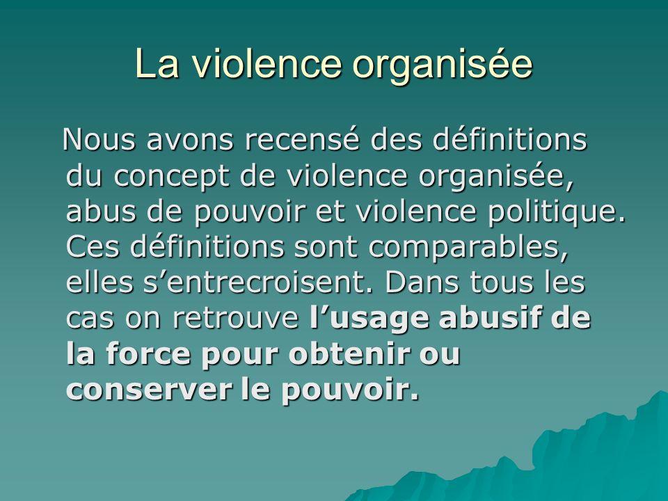 La violence organisée Nous avons recensé des définitions du concept de violence organisée, abus de pouvoir et violence politique.