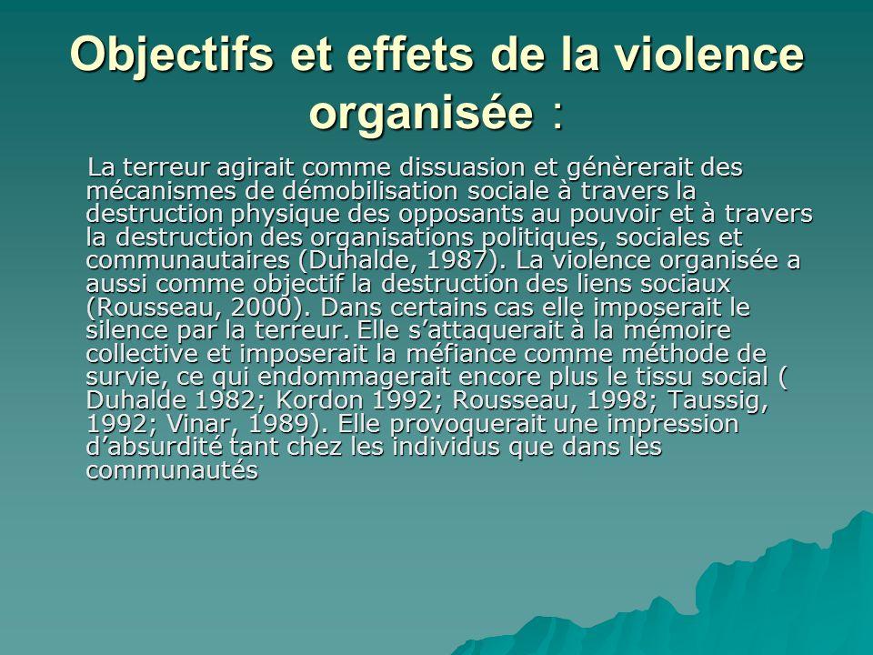 Objectifs et effets de la violence organisée : La terreur agirait comme dissuasion et génèrerait des mécanismes de démobilisation sociale à travers la destruction physique des opposants au pouvoir et à travers la destruction des organisations politiques, sociales et communautaires (Duhalde, 1987).