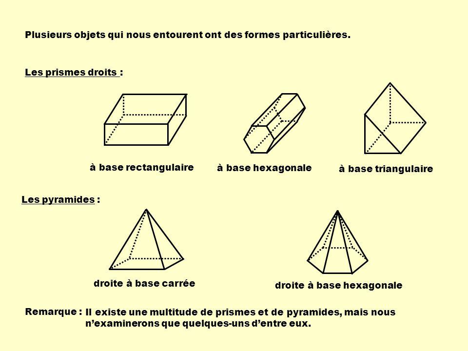 Plusieurs objets qui nous entourent ont des formes particulières. droite à base carrée Les prismes droits : Les pyramides : droite à base hexagonale à