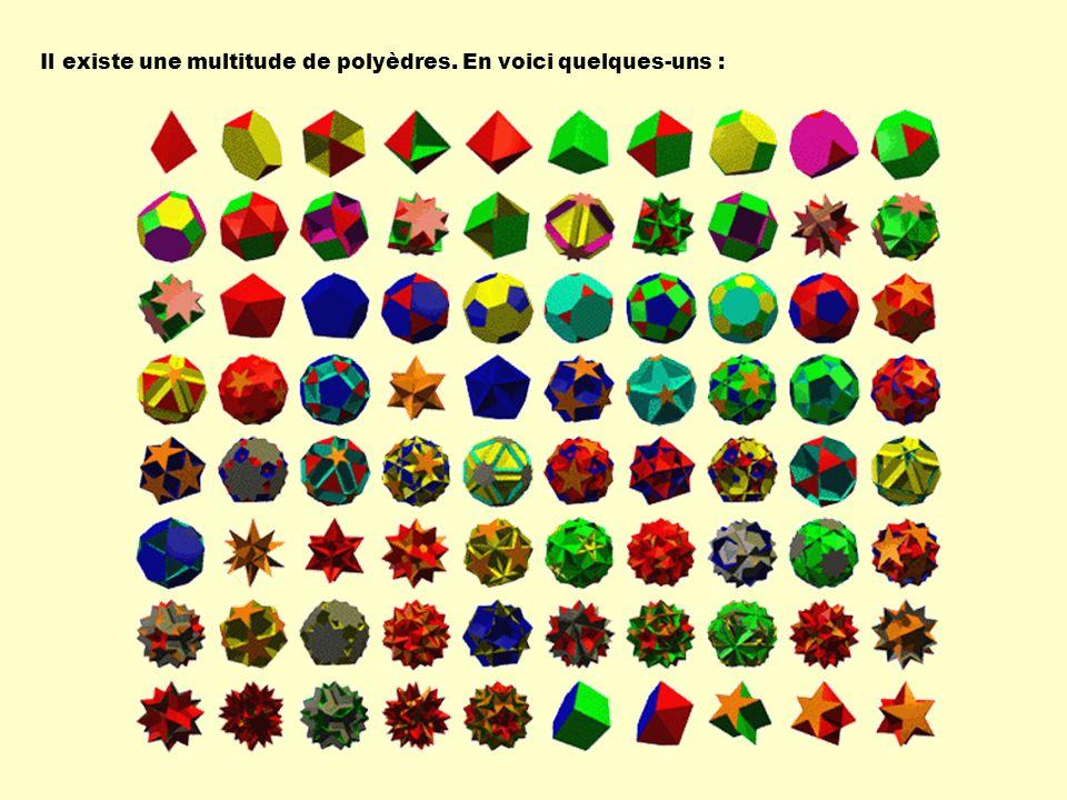 Il existe une multitude de polyèdres. En voici quelques-uns :