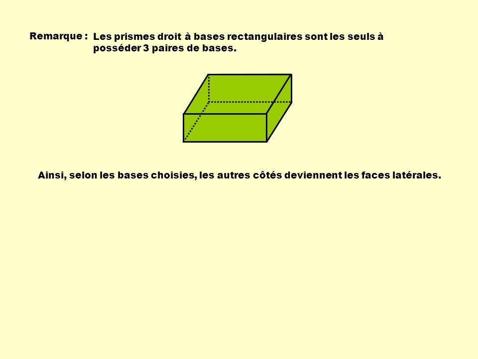 Remarque : Les prismes droit à bases rectangulaires sont les seuls à posséder 3 paires de bases. Ainsi, selon les bases choisies, les autres côtés dev