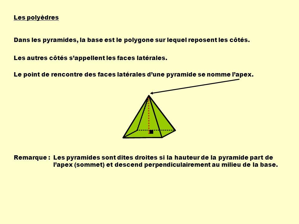 Les polyèdres Dans les pyramides, la base est le polygone sur lequel reposent les côtés. Les autres côtés sappellent les faces latérales. Remarque :Le