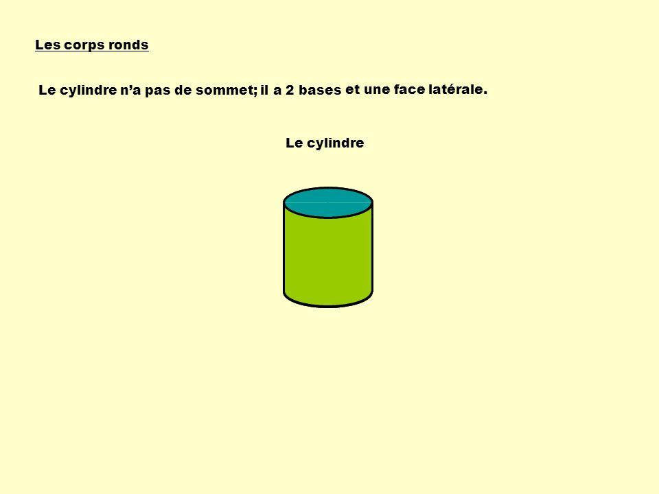 Les corps ronds Le cylindre na pas de sommet; il a 2 bases Le cylindre et une face latérale.