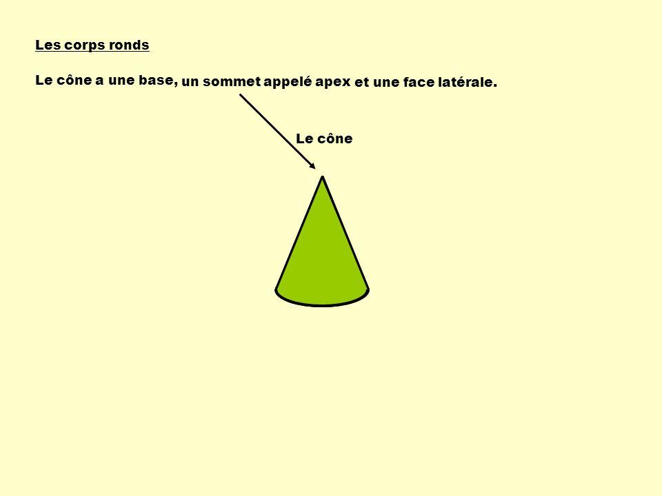 Le cône Les corps ronds Le cône a une base, un sommet appelé apex et une face latérale.