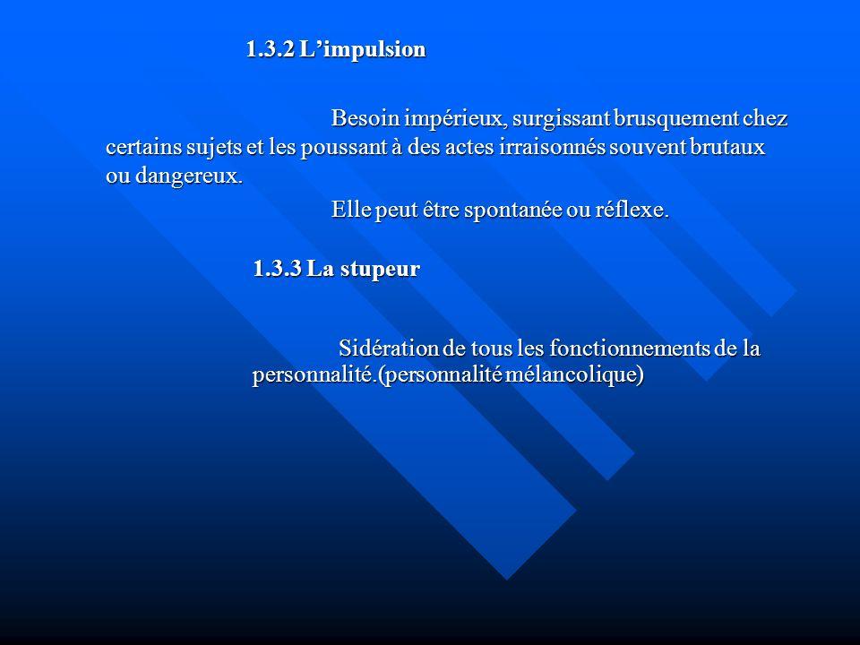 1.3.4 La catalepsie Trouble psychomoteur du tonus et de linitiative motrice =>hypertonie rigide ou =>suspension de linitiative motrice ou =>suspension de linitiative motrice 1.3.5 Para kinésie Incapacité dans laquelle se trouve le sujet dadapter ses mouvements à laction a accomplir.