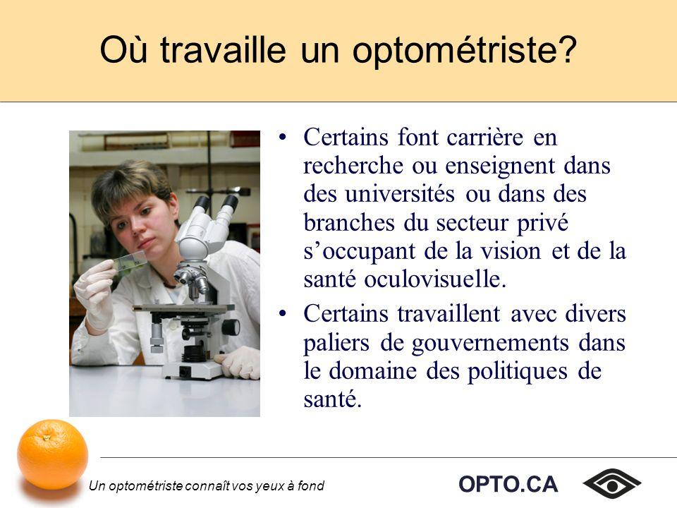 OPTO.CA Un optométriste connaît vos yeux à fond Où travaille un optométriste.