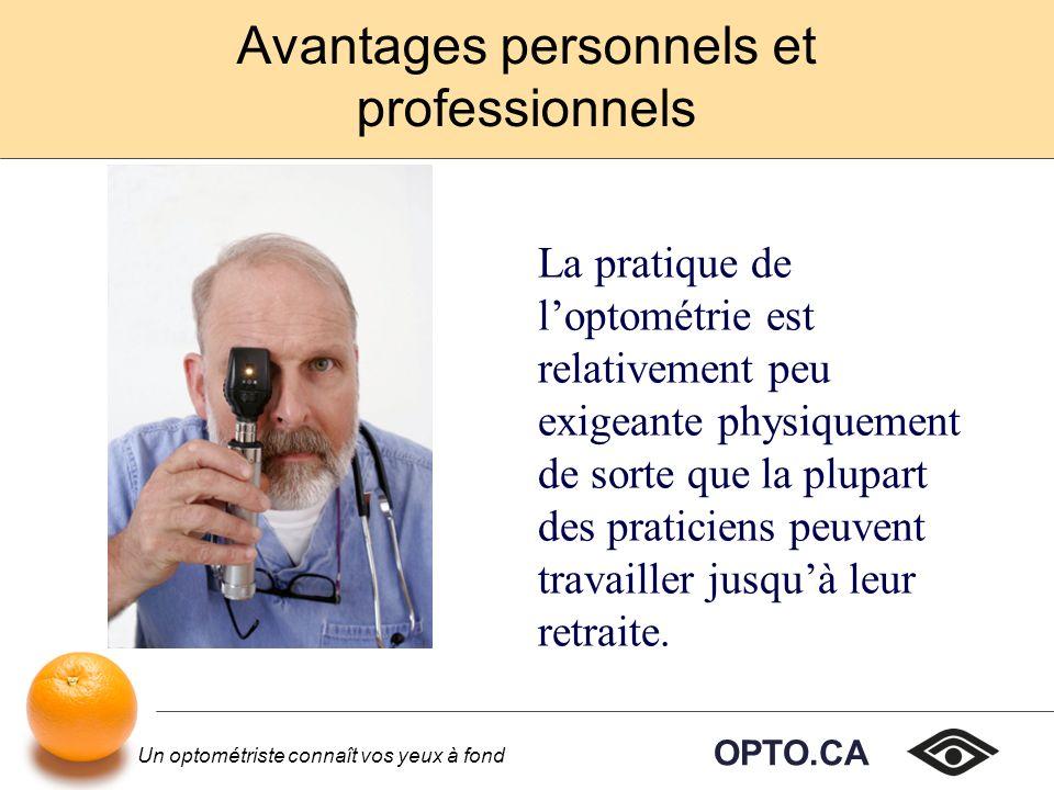 OPTO.CA Un optométriste connaît vos yeux à fond Avantages personnels et professionnels La pratique de loptométrie est relativement peu exigeante physiquement de sorte que la plupart des praticiens peuvent travailler jusquà leur retraite.