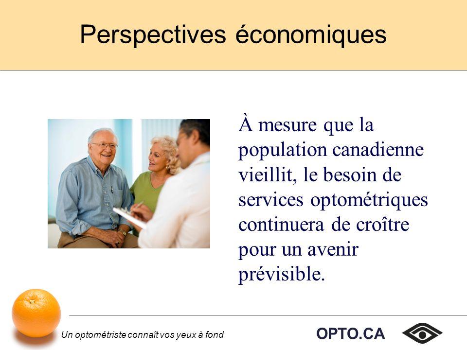 OPTO.CA Un optométriste connaît vos yeux à fond Perspectives économiques À mesure que la population canadienne vieillit, le besoin de services optométriques continuera de croître pour un avenir prévisible.