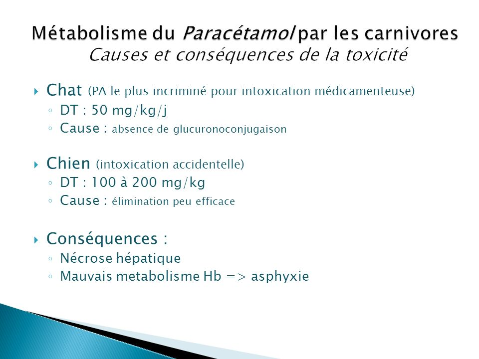 Chat (PA le plus incriminé pour intoxication médicamenteuse) DT : 50 mg/kg/j Cause : absence de glucuronoconjugaison Chien (intoxication accidentelle)