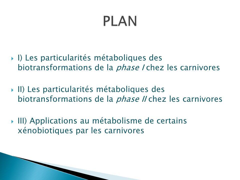 I) Les particularités métaboliques des biotransformations de la phase I chez les carnivores II) Les particularités métaboliques des biotransformations
