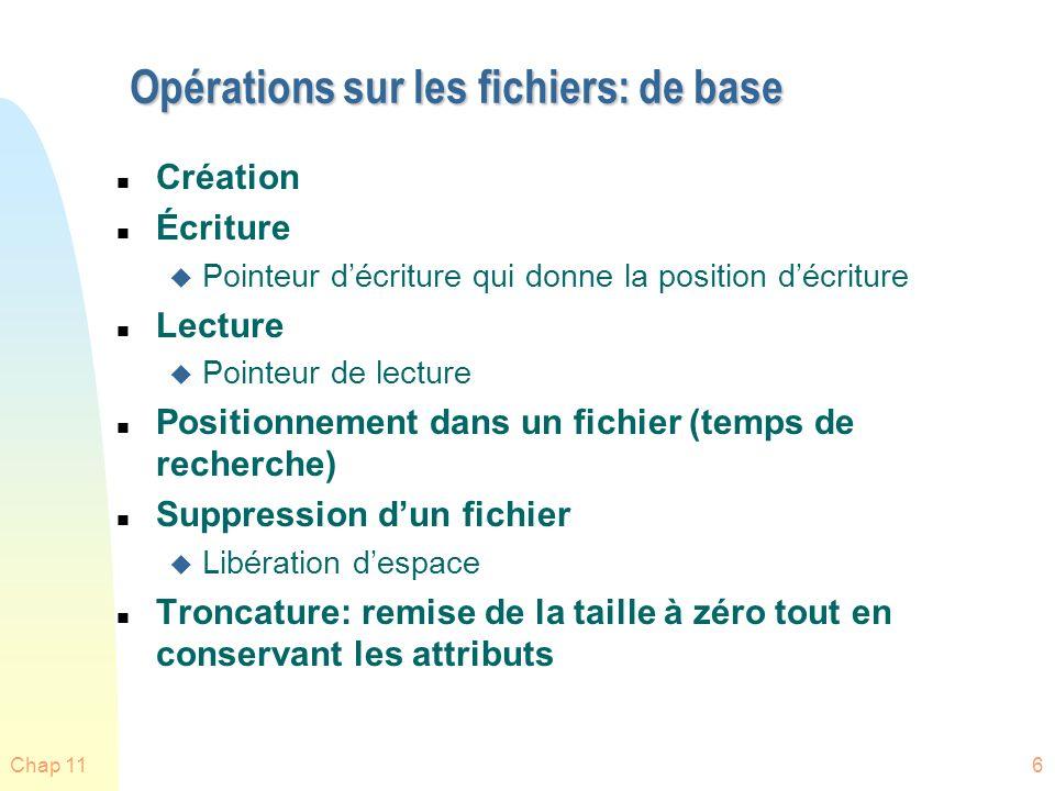 Chap 1157 Concepts importants du Chap 11 n Systèmes fichiers n Méthodes daccès n Structures Répertoires n Protection n Structures de systèmes fichiers