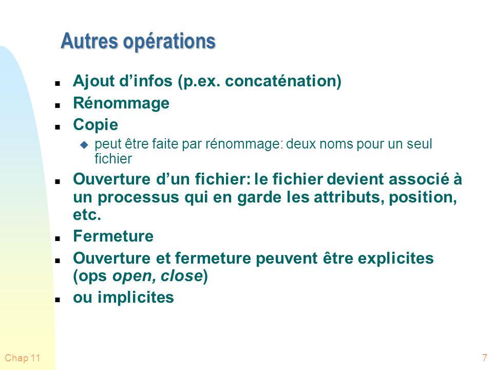 Chap 1138 Structures de répertoires (directories) n Une collection de structures de données contenant infos sur les fichiers.