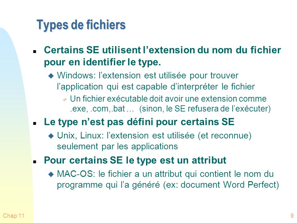 Chap 1190 Concepts importants du Chapitre 12 n Allocation despace: contiguë, enchaînée, indexée u Application en UNIX n Gestion despace libre: bitmap, liste liée