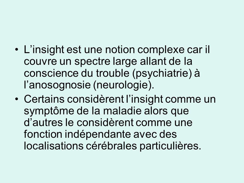 Linsight est une notion complexe car il couvre un spectre large allant de la conscience du trouble (psychiatrie) à lanosognosie (neurologie). Certains