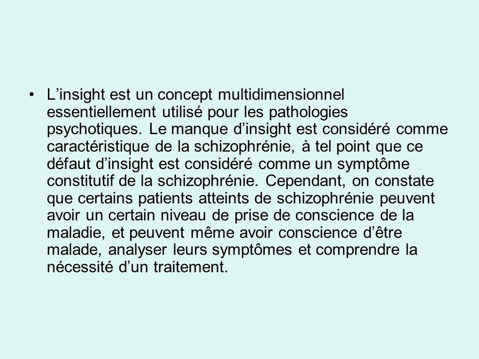 Linsight est un concept multidimensionnel essentiellement utilisé pour les pathologies psychotiques.