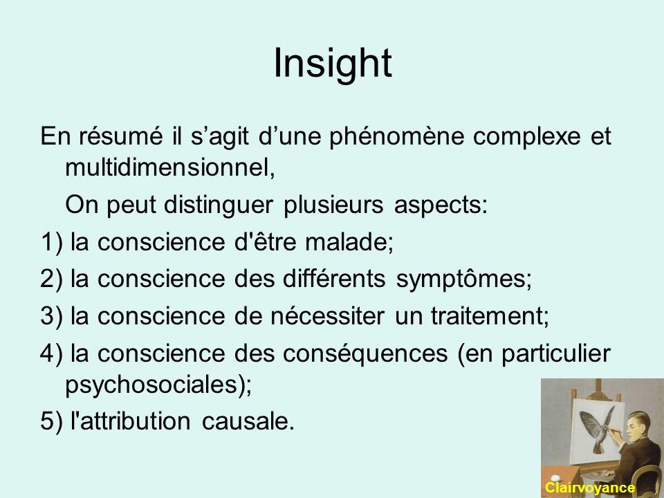 Insight En résumé il sagit dune phénomène complexe et multidimensionnel, On peut distinguer plusieurs aspects: 1) la conscience d être malade; 2) la conscience des différents symptômes; 3) la conscience de nécessiter un traitement; 4) la conscience des conséquences (en particulier psychosociales); 5) l attribution causale.