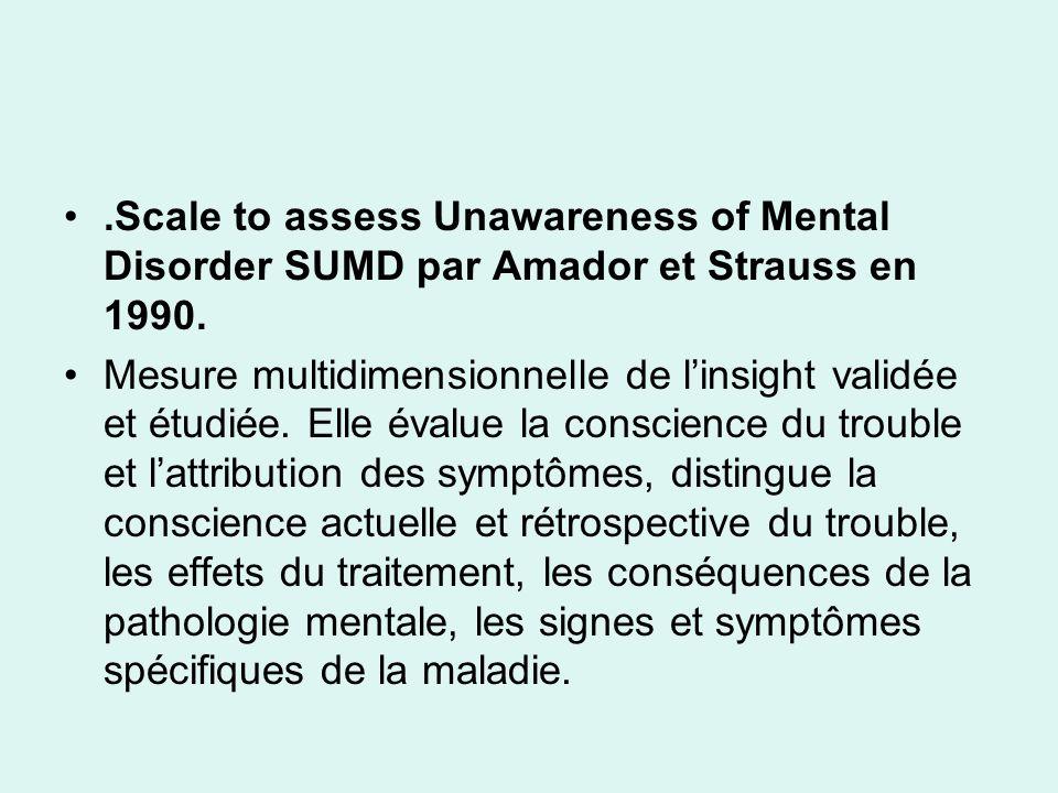 .Scale to assess Unawareness of Mental Disorder SUMD par Amador et Strauss en 1990. Mesure multidimensionnelle de linsight validée et étudiée. Elle év