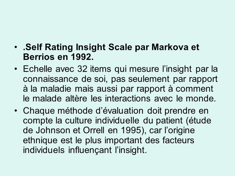.Self Rating Insight Scale par Markova et Berrios en 1992.