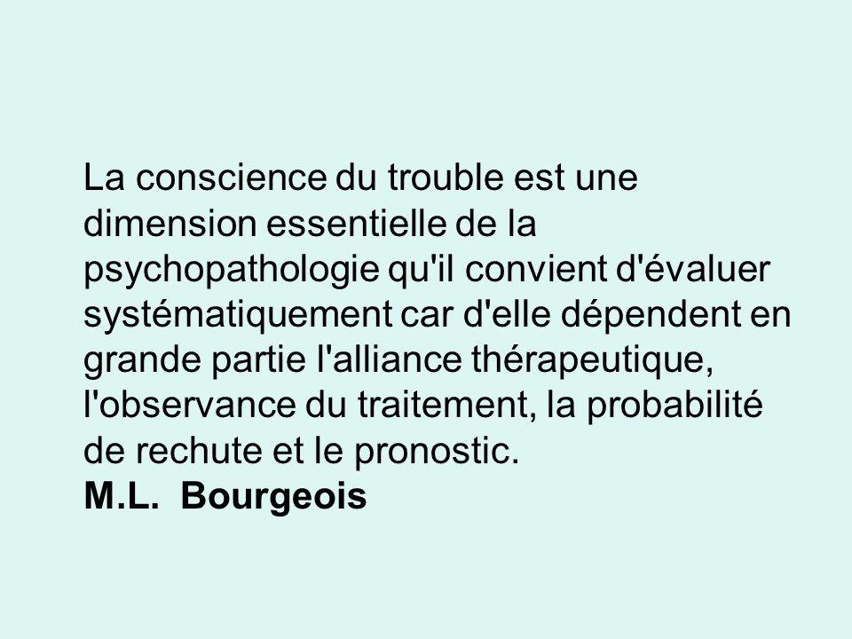 La conscience du trouble est une dimension essentielle de la psychopathologie qu'il convient d'évaluer systématiquement car d'elle dépendent en grande