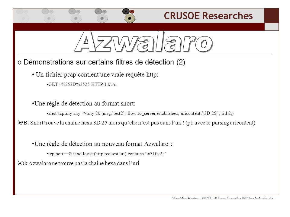 CRUSOE Researches o Démonstrations sur les overflow avec Azwalaro: (1) Dans les cmd clients http: http.authbasic matches [^\n]{100} http.authorization matches [^\n]{100} http.host matches [^\n]{100} http.location matches [^\n]{100} http.referer matches [^\n]{100} http.request.method matches [^\n]{100} http.request.uri matches [^\n]{100} http.request.version matches [^\n]{100} http.user_agent matches [^\n]{100} Dans les réponses srv http: http.server matches [^\n]{100} Présentation Azwalaro – 200703 – © Crusoe Researches 2007 tous droits réservés.