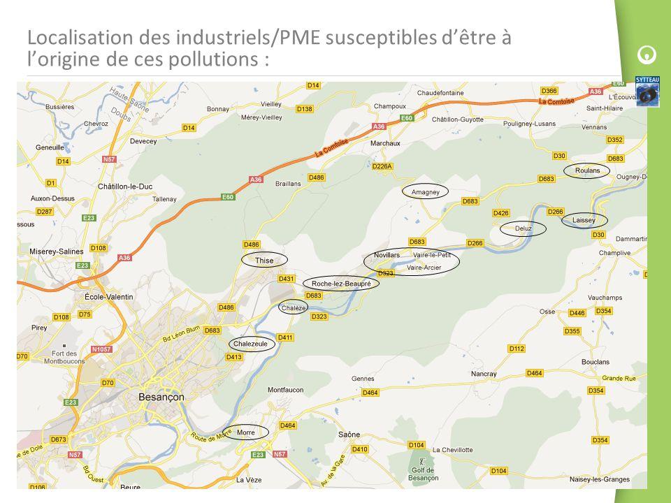 Localisation des industriels/PME susceptibles dêtre à lorigine de ces pollutions :