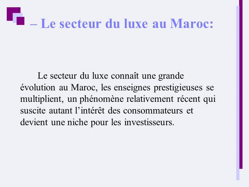 – Le secteur du luxe au Maroc: Le secteur du luxe connaît une grande évolution au Maroc, les enseignes prestigieuses se multiplient, un phénomène rela