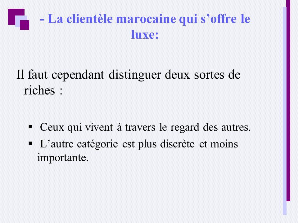 - La clientèle marocaine qui soffre le luxe: Il faut cependant distinguer deux sortes de riches : Ceux qui vivent à travers le regard des autres. Laut