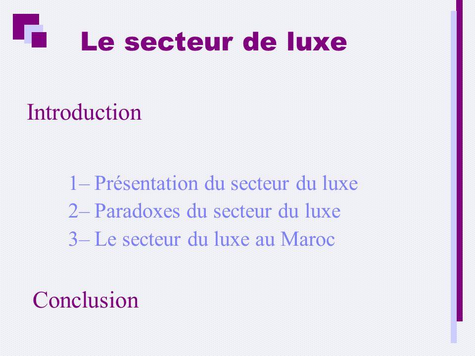 Le secteur de luxe Introduction 1– Présentation du secteur du luxe 2– Paradoxes du secteur du luxe 3– Le secteur du luxe au Maroc Conclusion