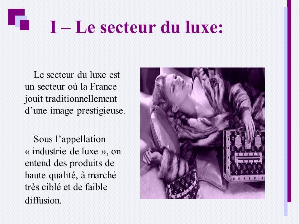 I – Le secteur du luxe: Le secteur du luxe est un secteur où la France jouit traditionnellement dune image prestigieuse. Sous lappellation « industrie