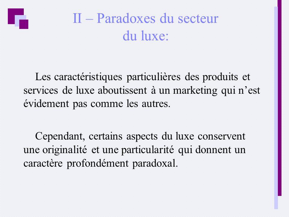 II – Paradoxes du secteur du luxe: Les caractéristiques particulières des produits et services de luxe aboutissent à un marketing qui nest évidement p