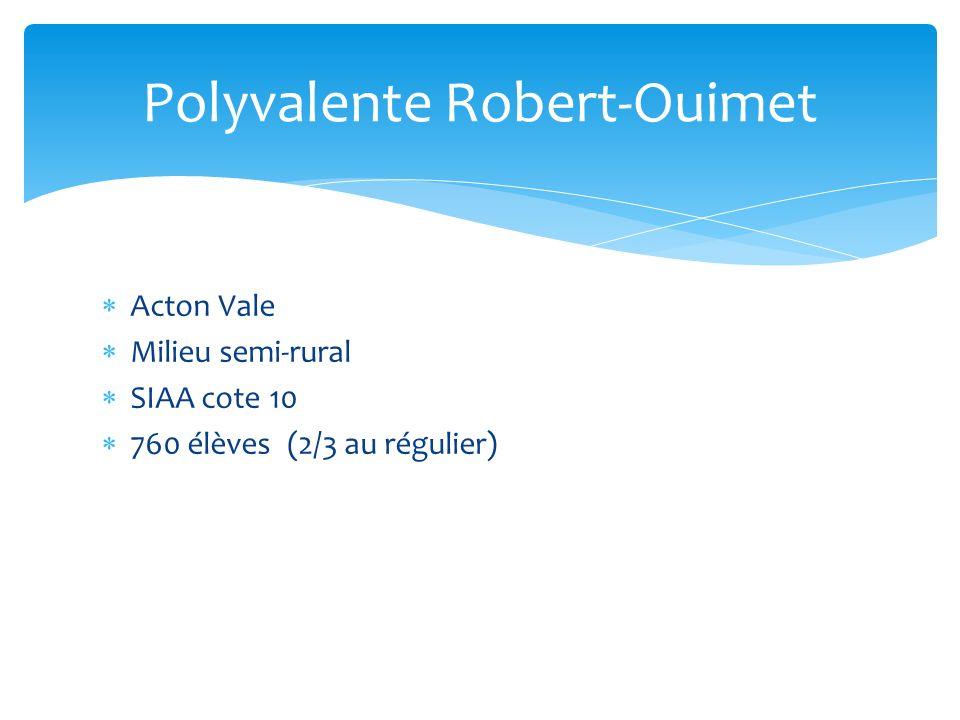 Acton Vale Milieu semi-rural SIAA cote 10 760 élèves (2/3 au régulier) Polyvalente Robert-Ouimet