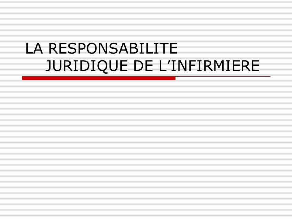 LA RESPONSABILITE CIVILE DE LINFIRMIERE « On est responsable non seulement du dommage que lon cause par son propre fait mais encore de celui qui est causé par le fait des personnes dont on doit répondre ou des choses que lon a sous sa garde » ART1384 du code civil