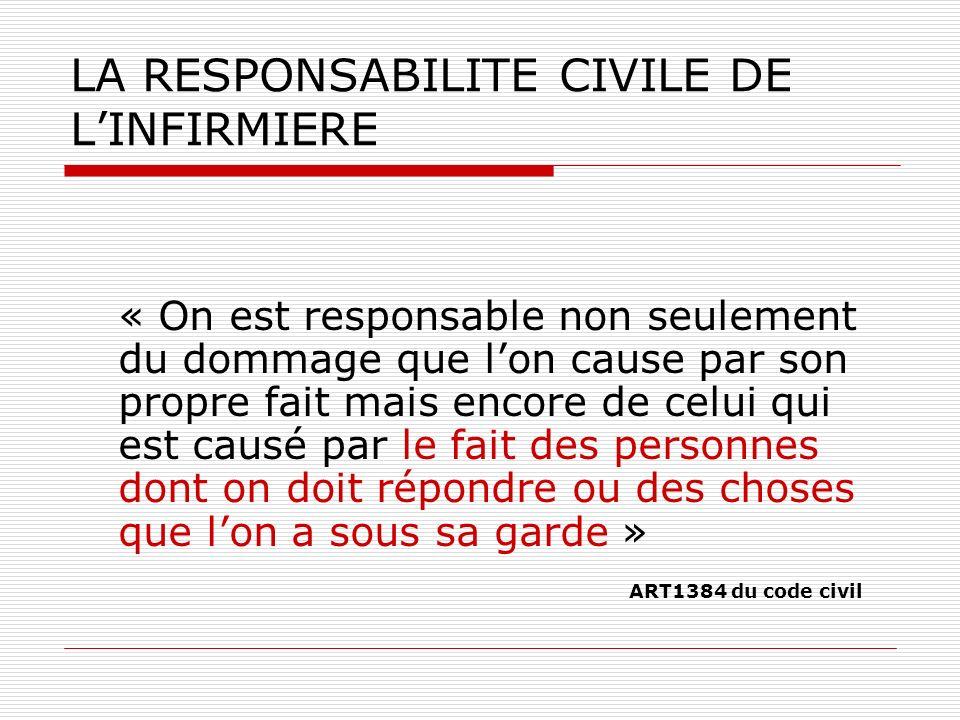 LA RESPONSABILITE CIVILE DE LINFIRMIERE « On est responsable non seulement du dommage que lon cause par son propre fait mais encore de celui qui est c