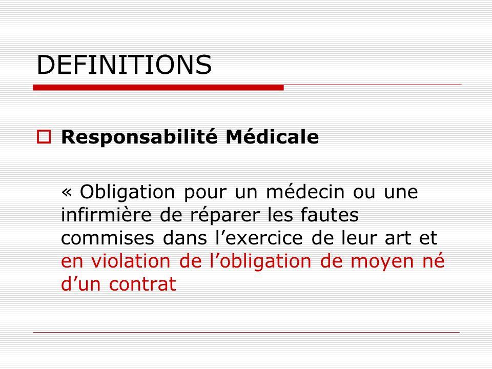 DEFINITIONS Responsabilité Médicale « Obligation pour un médecin ou une infirmière de réparer les fautes commises dans lexercice de leur art et en vio