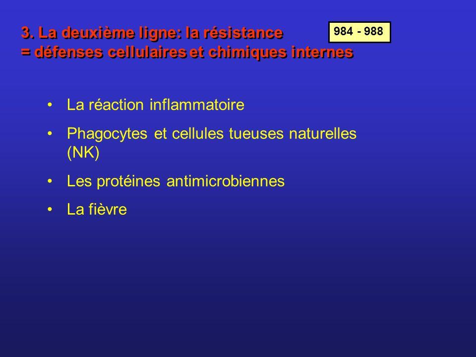 La réaction inflammatoire Toute lésion ou infection des tissus ==> inflammation Vasodilatation des vaisseaux sanguins de la région lésée La réaction inflammatoire Phagocytes et cellules tueuses naturelles (NK) Les protéines antimicrobinnes La fièvre 978 1.Rougeur 2.Sensation de chaleur 3.Œdème (enflure) 4.Douleur Causée par lœdème (compression des tissus et des fibres nerveuses de la douleur) et par la libération de prostaglandines, hormones libérées localement par les cellules de la zone lésée et par certains globules blancs.